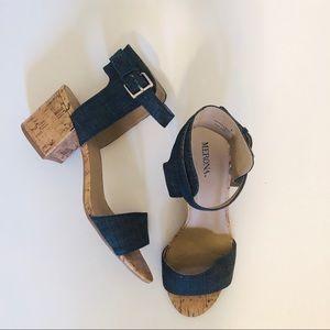 Cork and Denim Heeled Sandals